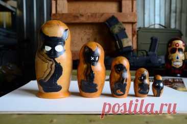 Русская Матрешка Бабушка Деревянные вложенные куклы Кошки на   Etsy