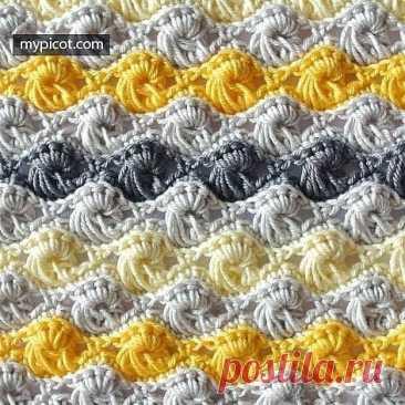 Двухцветный узор крючком #crochet #вязание_крючком #узоры_крючком