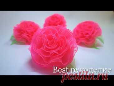 Цветы из органзы / 2 способа / мастер-класс / резинки с цветами.