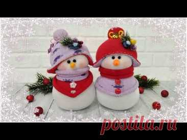 ⛄❄️🎄Как сделать снеговика из носков//How to make a sock snowman