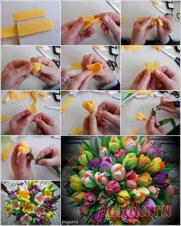 Как сделать цветы из бумаги: мастер-класс Как сделать цветы из бумаги: мастер-классНовые букеты любимым маме и бабушке гарантированы.