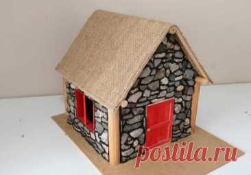 Каменный домик-светильник
