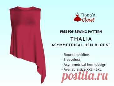 Выкройка женской летней блузы с перепадом длины Размеры XXS - 5 XL!!! Источник https://tianascloset.com/index.php/2021/01/23/thalia-..