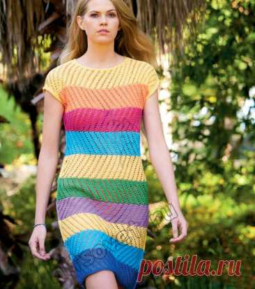 Цветное полосатое летнее платье спицами - Хитсовет
