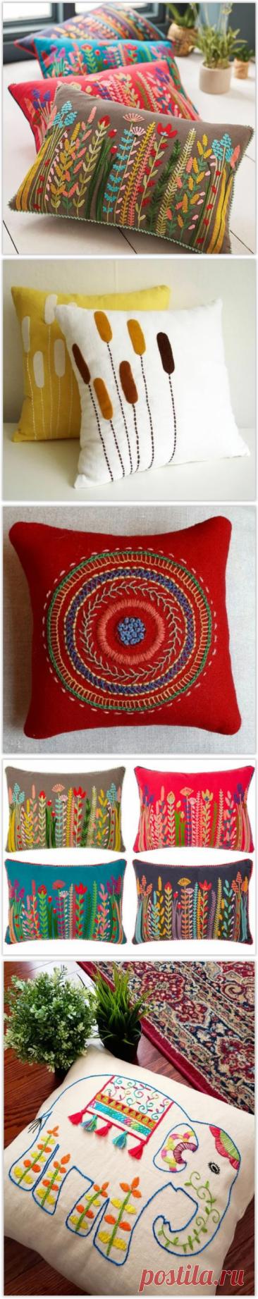 Уютные, вышитые стежковой вышивкой диванные подушки - стежковая вышивка своими руками!