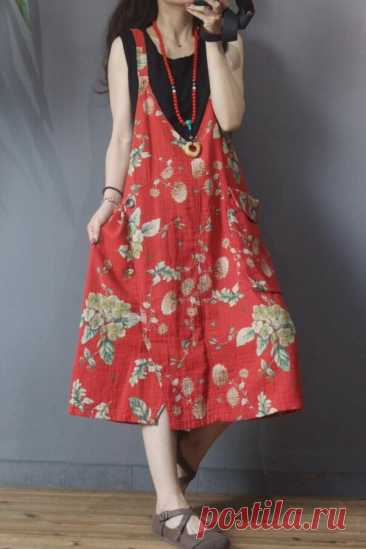 Red big pocket dress retro dress suspender dress midi   Etsy