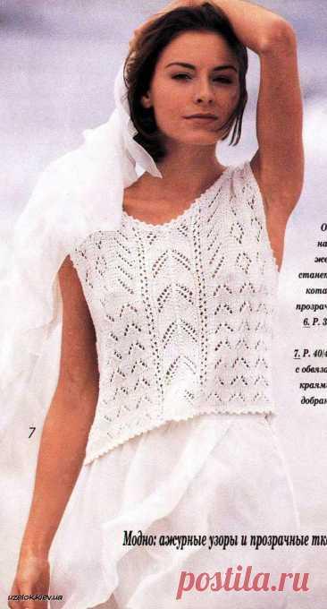 Белая майка-топ спицами | Вязание и рукоделие