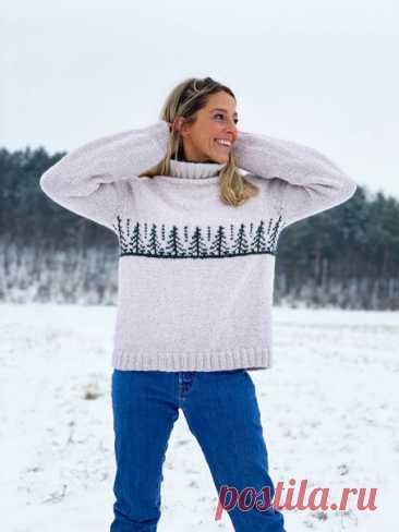 Простой свитер для знакомства с жаккардом DESIGN: HOY x naTURlig av Jannecke Weeden https://dalegarn.no/oppskrift/gd02-01-naturlig-gran/