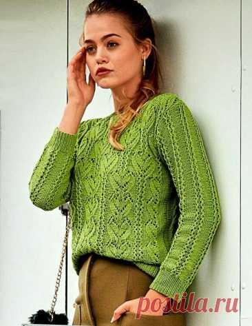 Зеленый ажурный джемпер