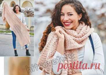 Красивый ажурный шарф-палантин - Хитсовет