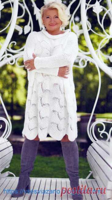 Модный оверсайз. Теплая туника (Вязание спицами)