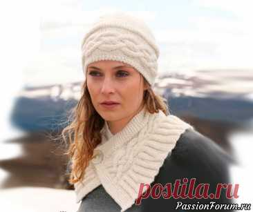 Ажурный комплект - шапка и коротенький шарфик