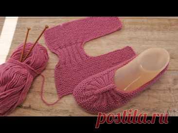 Новая модель – следки с перемычкой спицами 🍑 New model - knitted slippers
