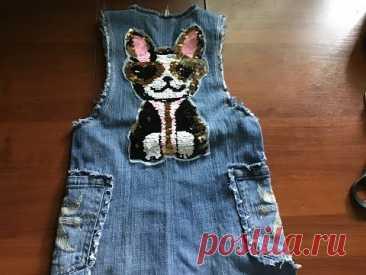 Детский сарафан из старых джинсов