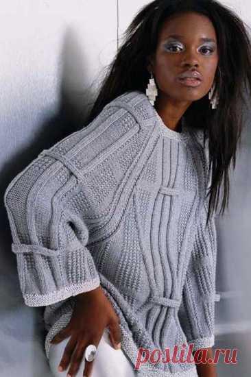Элегантный джемпер реглан с увеличенной проймой спицами – схема и описание — Пошивчик одежды