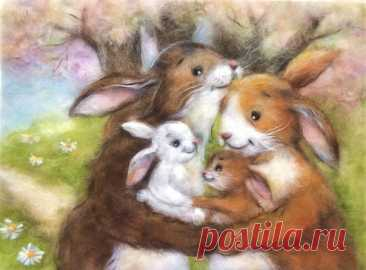 Закончила заказ - милейших зайцев) Картина размером 30*40 см, шерсть- ну как обычно