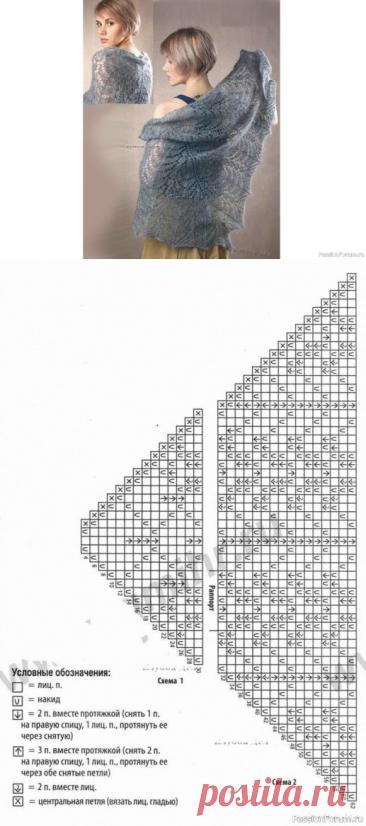 Серая шаль из мохера. Схема | Вязание шали спицами