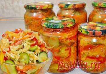 Салат «Дунайский» с зелеными помидорами, огурцами и капустой: 6 вкусов на зиму