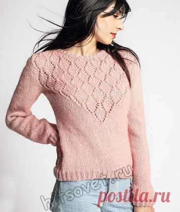 Вязаный пуловер с красивой треугольной кокеткой - Хитсовет