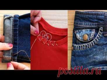 👗2021 Лучшие советы и хитрости для шитья l Отличные советы по вышивке (одежда, джинсы) 🧵 l Как шить😍