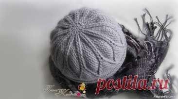 Тёплая шапочка крючком с подкладкой спицами.