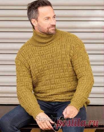 Мужской пуловер с шахматным узором — Shpulya.com - схемы с описанием для вязания спицами и крючком