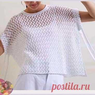 Зигзагообразный ажурный узор спицами  Для легких ажурных джемперов, туник, шарфов, палантинов, топов и т.д. #knitting #вязание_спицами #узоры_спицами