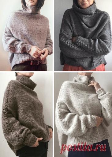 Вязаный пуловер оверсайз Zopf. Схема и описание вязания на спицах пуловера с косами на рукавах