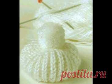 Шапочка Берет «Снежок» для куклы  Спицами