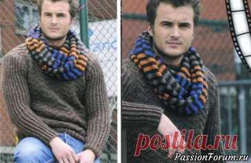 Пуловер и шарф-петля | Вязание для мужчин спицами. Схемы вязания Стильный пуловер вязаный спицами серо-коричневой пряжей и разноцветный шарф-петля сделают мужчин неотразимыми.Размеры пуловера: 14 лет/17 лет/S/M/L/. Размеры шарфа: 43х157 см.ПуловерВам понадобится пряжа Boulon d'On:  LEGENOE (60% альпака, 40% шерсть, 50 г/75 м],  Korrigan 1110...