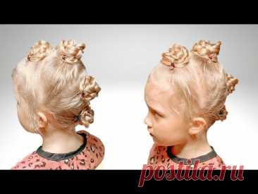 Прическа с шишечками из французской косы