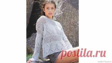 Пуловер прямого кроя с чередованием узоров