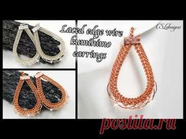 Laced edge wire kumihimo earrings