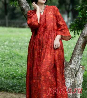 Women V Collar long Dress plus size Dresses summer Vintage | Etsy