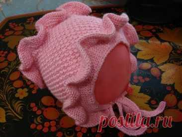 Как связать спицами шапочку-чепчик с рюшами для обхвата головы 50см - 1 моток пряжи Камтекс Шалунья Лайт, цвет розовый