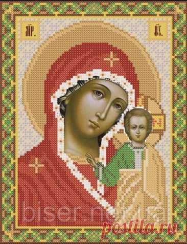 Образ Богородицы. Цветная Схема для вышивки крестиком бисером