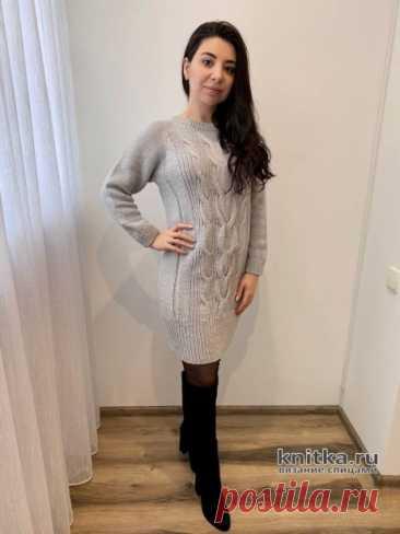 Джемпер-платье туника регланом сверху спицами