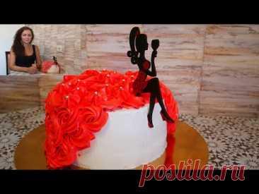 Торт на юбилей женщине. ДАМСКИЙ ТОРТ. Украшение торта кремом БЫСТРО и ПРОСТО