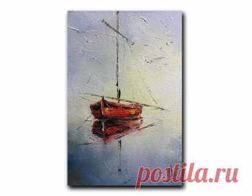 Красная лодка на море Старый парусник искусства работы | Etsy