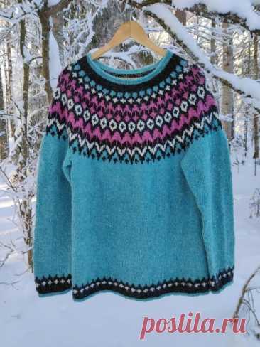 Исландский свитер  Размеры:XS(S)M(L)XL(XXL)XXXL. Размер исландского трикотажа определяется окружностью в самой широкой точке подола. Взрослый размер / окружность подола (см): ХS / 80-86, S / 86-92, М /92-98, L/98-105, XL/105-112, XXL/112-120, XXXL/ 120-128.  Для тела набрать 114(126)132(138)150(156)168 пет. Для рукава набрать 34(36)36(38)40(42)42 пет. Кокетка : Соедините рукава и корпус