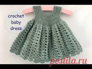 crochet baby dress madeline 2021  - app. 0 - 6 months - how to crochet a baby dress