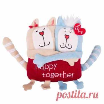 Мягкая игрушка Gulliver Кот и кошка Счастливы вместе 15 см Розово-Голубой купить в интернет-магазине   Твой Стиль 211898