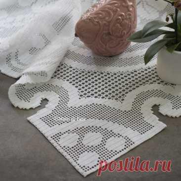 Схема для коврика с филейной вышивкой крючком