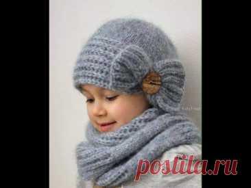 Caciulita tricotata pentru fetite