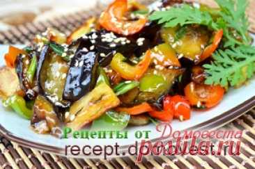 """Potatoes and eggplants in garlick sauce in Chinese\"""" Recipes from Domovest"""