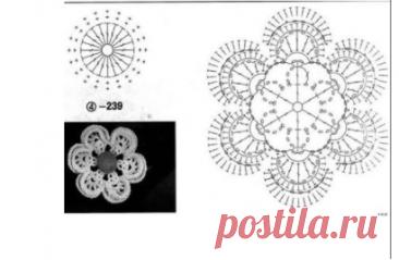 👌 15 схем вязаных цветов, увлечения и хобби