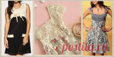 Вязание с тканью - летние сарафаны - модели плюс схемы - большая подборка | МНЕ ИНТЕРЕСНО | Яндекс Дзен