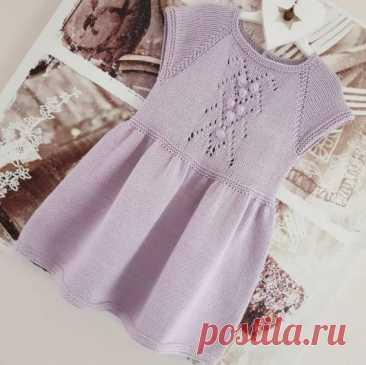 Детское платье спицами, схема