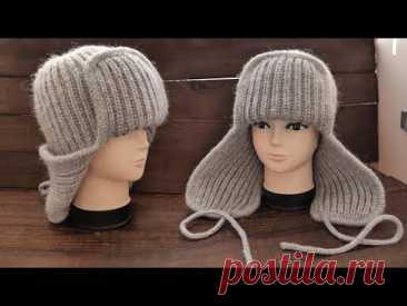 Тренд Осени 🔥 ШАПКА УШАНКА спицами 👑 Knitted Earflap Hat