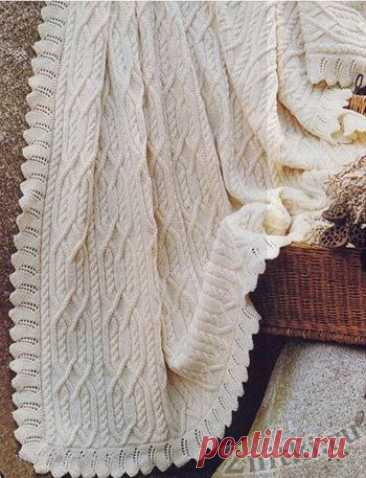 Теплое покрывало белого цвета - схемы вязания крючком и спицами - Две Нитки
